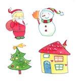 Ícones das aguarelas do Natal Fotografia de Stock