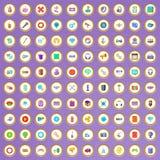 100 ícones das aplicações ajustados no estilo dos desenhos animados Fotos de Stock