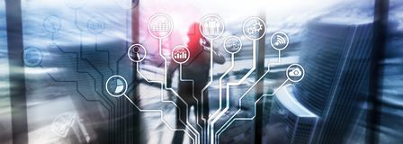 Ícones das aplicações empresariais no fundo borrado Financeiro e troca Conceito da tecnologia do Internet imagem de stock