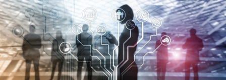 Ícones das aplicações empresariais no fundo borrado Financeiro e troca Conceito da tecnologia do Internet ilustração stock