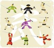 Ícones das artes marciais Imagens de Stock Royalty Free