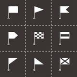 Ícones das bandeiras negras do vetor ajustados Imagens de Stock Royalty Free