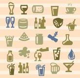Ícones das bebidas Fotografia de Stock