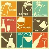 Ícones das bebidas ilustração stock