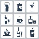 Ícones das bebidas do vetor ajustados Fotografia de Stock