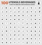 Ícones das bebidas dos utensílios ajustados Imagem de Stock