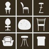 Ícones das cadeiras Fotos de Stock