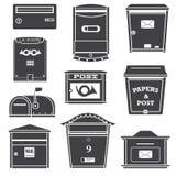 Ícones das caixas modernas das caixas e de letra do cargo Fotografia de Stock Royalty Free
