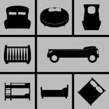Ícones das camas Imagens de Stock