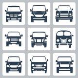 Ícones das camionetes do vetor (vista dianteira) ajustados Imagem de Stock