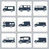 Ícones das camionetes do vetor (vista lateral) ajustados Fotografia de Stock Royalty Free