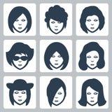 Ícones das caras da fêmea do vetor ajustados Imagens de Stock Royalty Free