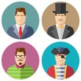 Ícones das caras do homem ajustados Imagem de Stock Royalty Free
