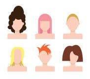 Ícones das caras dos povos do vetor ajustados hairstyle ilustração royalty free