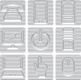 Ícones das comunicações ajustados Imagens de Stock
