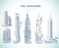 Ícones das construções ajustados de arranha-céus modernos Foto de Stock Royalty Free