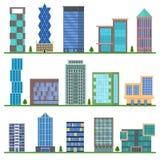 Ícones das construções dos desenhos animados ajustados Vetor ilustração royalty free