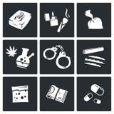 Ícones das drogas ajustados Imagens de Stock