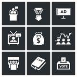 Ícones das eleições Ilustração do vetor Fotos de Stock Royalty Free