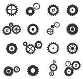 Ícones das engrenagens e das rodas da roda denteada ajustados Imagem de Stock