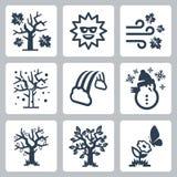 Ícones das estações do vetor ajustados Fotografia de Stock