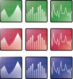 Ícones das estatísticas Imagens de Stock
