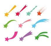 Ícones das estrelas de tiro Vector as silhuetas ou os cometas da estrela de queda isoladas no fundo branco Estrela da cor com cau ilustração do vetor
