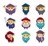 Ícones das estudantes de terceiro ciclo dos desenhos animados ajustados Foto de Stock Royalty Free