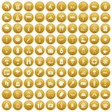 100 ícones das férias ajustaram o ouro ilustração stock