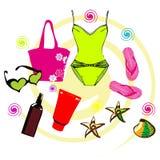 Ícones das férias de verão ajustados Fotografia de Stock
