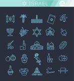 Ícones das férias do curso de Israel do país ajustados ilustração stock