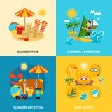 Ícones das férias e da aventura de verão ajustados Fotos de Stock