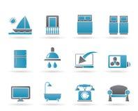 Ícones das facilidades do quarto do hotel e de motel Fotografia de Stock