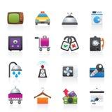 Ícones das facilidades do quarto do hotel e de motel Imagem de Stock