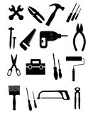 Ícones das ferramentas ajustados Foto de Stock Royalty Free