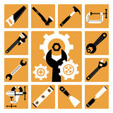 Ícones das ferramentas ajustados ilustração do vetor
