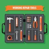 Ícones das ferramentas ajustados com caso em um projeto liso Imagens de Stock Royalty Free