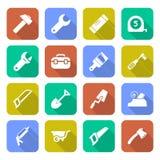 Ícones das ferramentas com sombras Fotografia de Stock Royalty Free