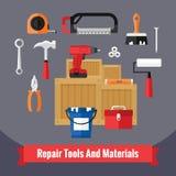 Ícones das ferramentas da construção ajustados em um projeto liso Fotos de Stock Royalty Free