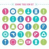 Ícones das ferramentas da costura e do passatempo ajustados Imagem de Stock