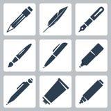 Ícones das ferramentas da escrita e da pintura do vetor ajustados Foto de Stock Royalty Free
