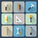 Ícones das ferramentas de funcionamento ajustados Imagem de Stock