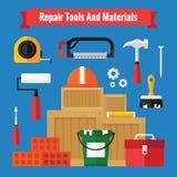 Ícones das ferramentas do equipamento ajustados em um projeto liso Fotografia de Stock Royalty Free