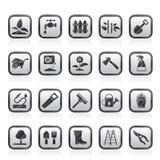 Ícones das ferramentas do jardim e de jardinagem ilustração royalty free