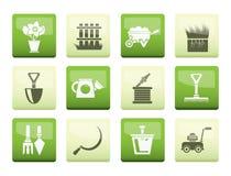 Ícones das ferramentas do jardim e de jardinagem sobre o fundo da cor ilustração royalty free