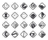 Ícones das ferramentas do negócio e do escritório da silhueta Imagens de Stock