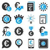 Ícones das ferramentas do negócio e do serviço de operação bancária do Euro Foto de Stock Royalty Free