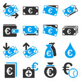 Ícones das ferramentas do negócio e do serviço de operação bancária do Euro Fotos de Stock