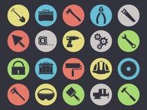 Ícones das ferramentas do trabalho ajustados isolados no preto ilustração do vetor