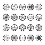 Ícones das flores em uma forma redonda Única linha estilo-vetor ilustração do vetor